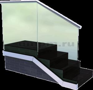 Перила из стекла в профиле