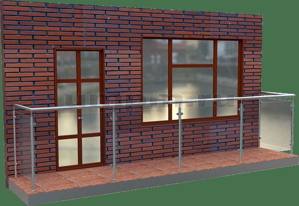 Стеклянные ограждения для балкона комбинированные с нержавеющей сталью