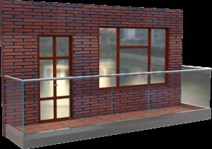 Стеклянные перила для балконов на профиле