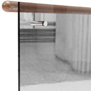 Круглый деревянный  выносной поручень для стеклянных ограждений