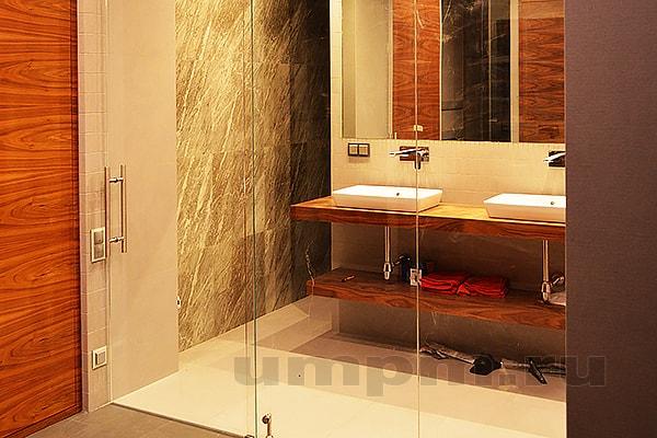 Стеклянная перегородка с дверью для ванной комнаты