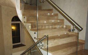 Стеклянные ограждения для лестниц с нержавеющем поручнем