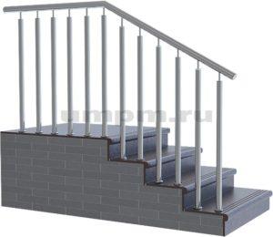 Лестничные перила из нержавейки с двумя стойками в ступень