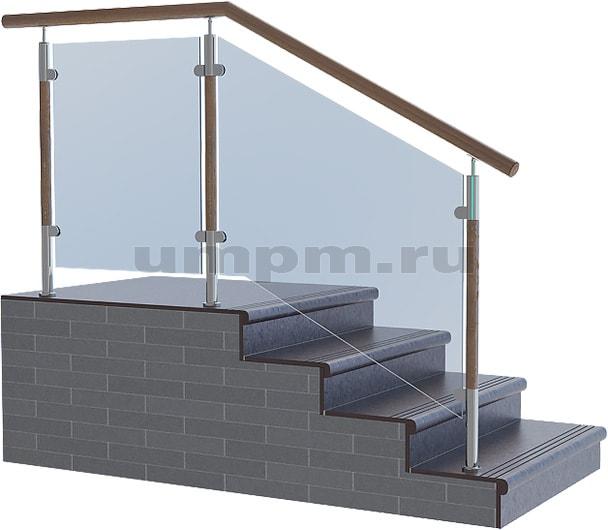 Ограждения из нержавеющей стали, стекла с комбинированными стойками из дерева и деревянным поручнем