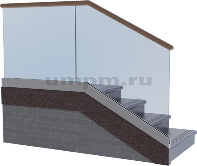Лестничные стеклянные перила с деревянным поручнем