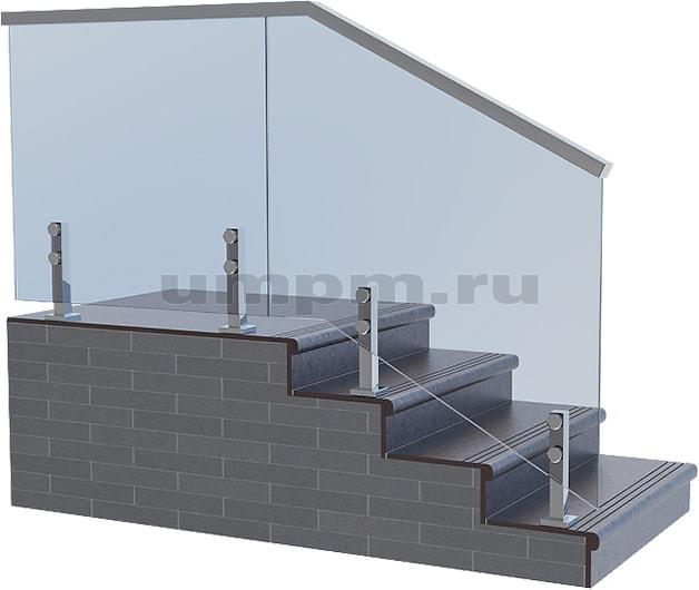 Ограждения из стекла для лестниц на коротких стойках с прямоугольным нержавеющим поручнем