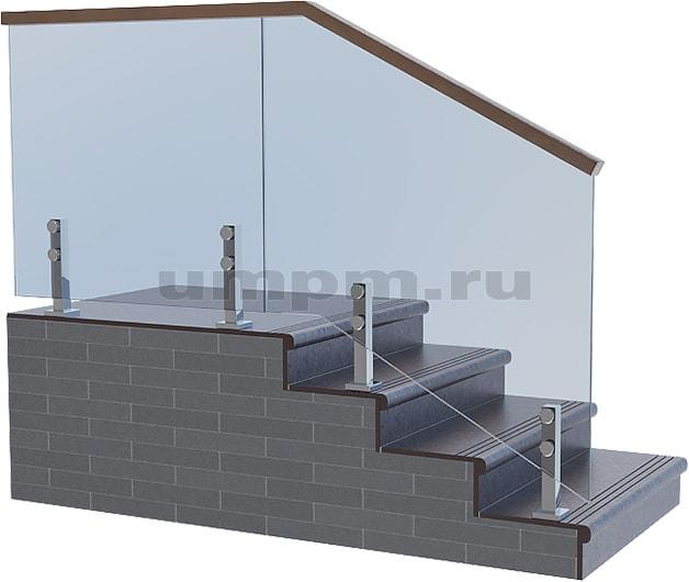 Стеклянные ограждения для лестниц с прямоугольным деревянным поручнем