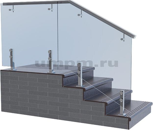 Ограждения из стекла для лестниц на коротких стойках с круглым нержавеющим прямоугольным выносным поручнем