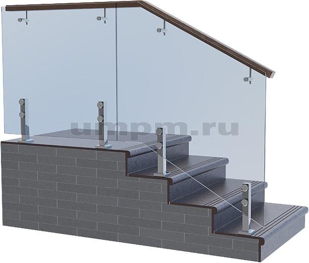 Ограждения из стекла на коротких стойках с выносным деревянным поручнем