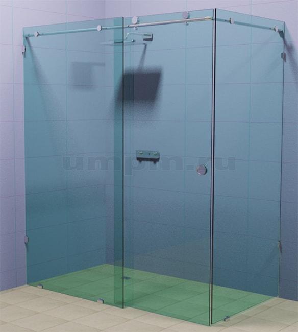 Безрамная стеклянная душевая перегородка с откатной дверью