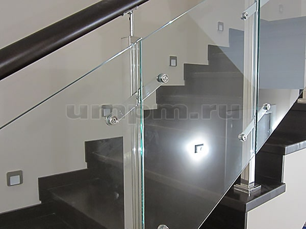 Ограждения со стеклом из нержавеющей стали с пластинчатыми стеклодержателями